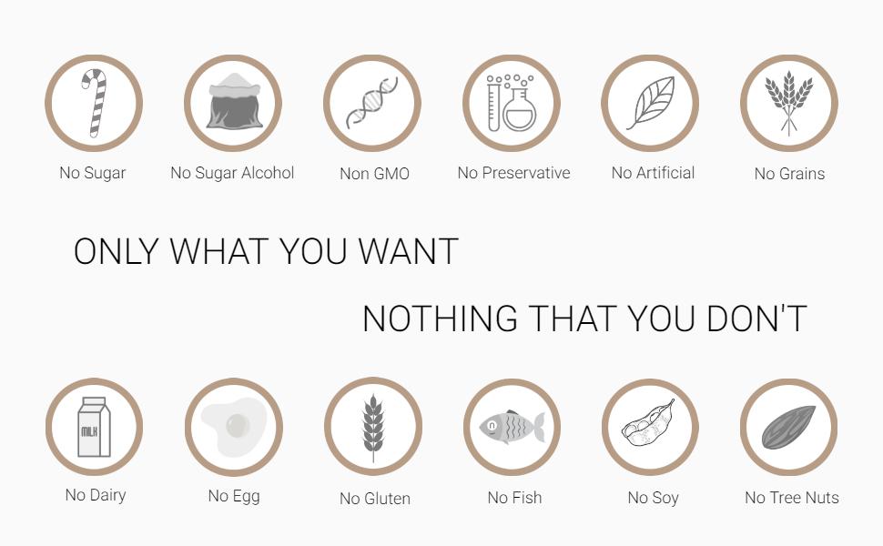 vegetarian gluten free allergen free non gmo natural no preservatives grains sugar alcohol diary