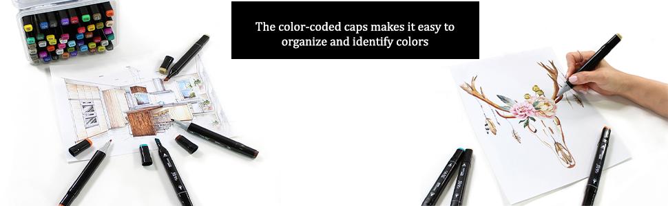 felt tip art pens, fineliner pens 60, extra fine tip coloring pens, color blending markers