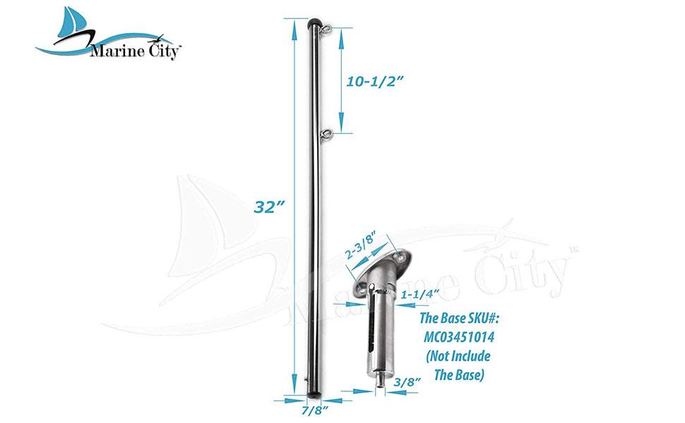 MARINE CITY 316 Stainless Steel Marine Boat 30/° Flush Mounting Socket /& 32 Flag Pole for Boat Yacht Socket /& Flag Pole 1 Set