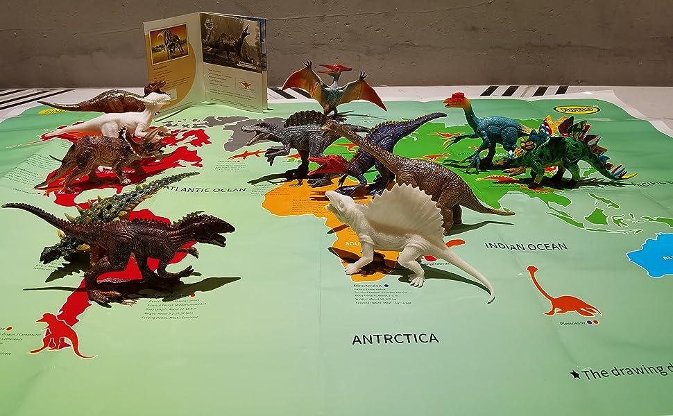 12Pcs Dinosaur Toy Playset with Activity Play Mat