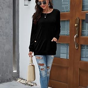 womens long sleeve tops button womens long sleeve tunic sweatshirt women tunic tops leggings