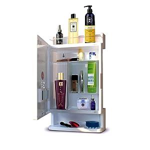 ciplaplast wall mount bathroom cabinet with shelf organizer waterproof resistant rich look white