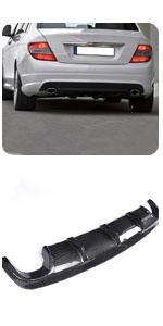 Benz W204 C300 C350 Sport C63 AMG 2008-2011 Carbon Fiber Rear Bumper Lip CF Diffuser Spoiler