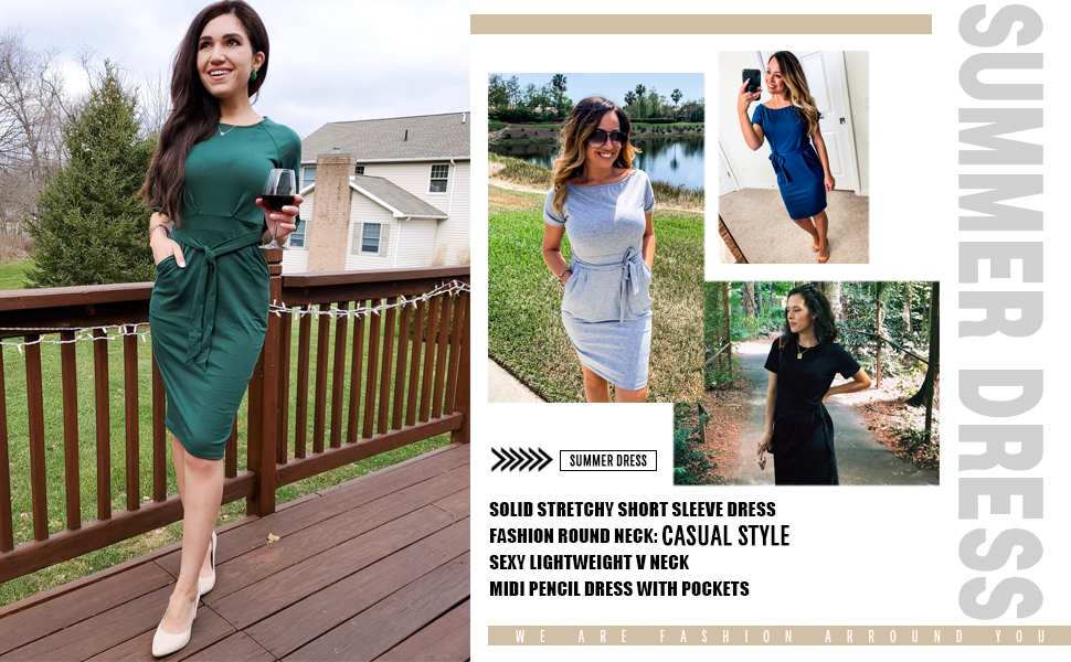 Short Belted Office Dress With Pockets