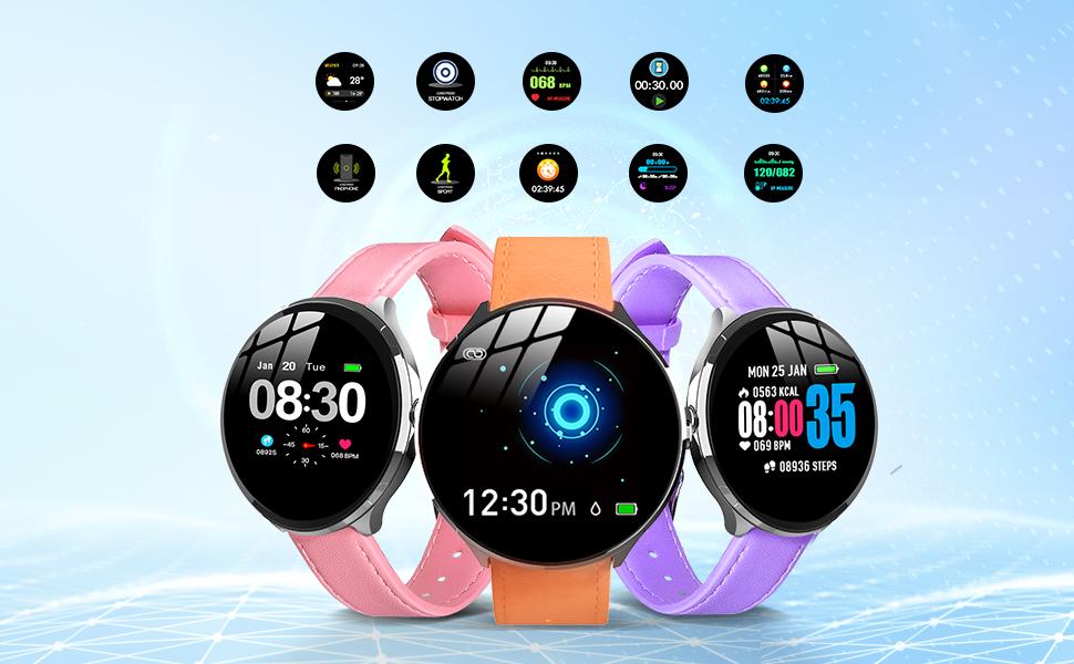 Smartwatch Mujer Impermeable Reloj Inteligente Elegante Pulsera ...