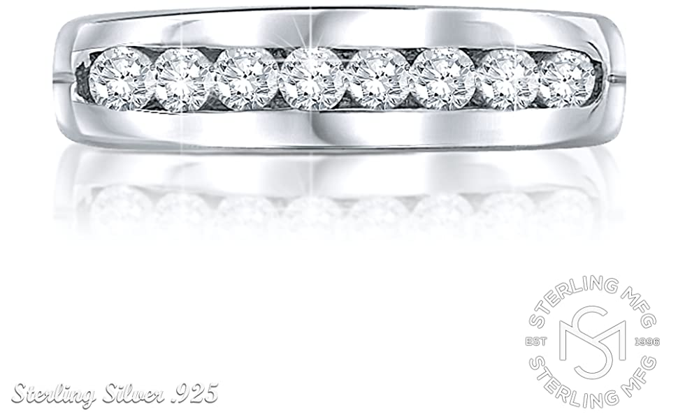 Channel Set Created Diamond Solid Sterling 925 Silver Wedding Ring Designer Jewelry 8044