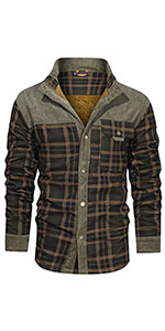 Men's Plaid Fleece Outdoor Winter Thick Fuzzy Sherpa Lined Button Down Corduroy Flannel Shirt Jacket