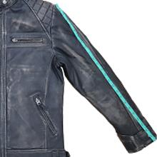 Aviatrix Men's Real Leather Crosshatch Shoulder Detail Fashion Jacket