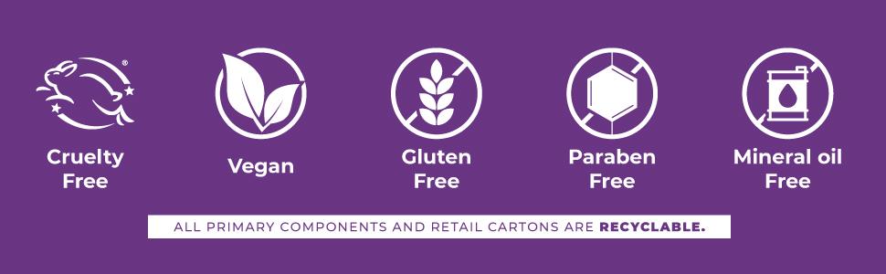 cruelty free, vegan, gluten free, paraben free, mineral oil free
