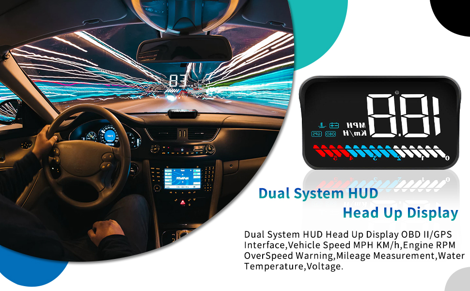 ACECAR Car Universal Dual System HUD Head Up Display OBD II/GPS Interface,Vehicle Speed MPH KM/h,Engine RPM,OverSpeed Warning,Mileage ...