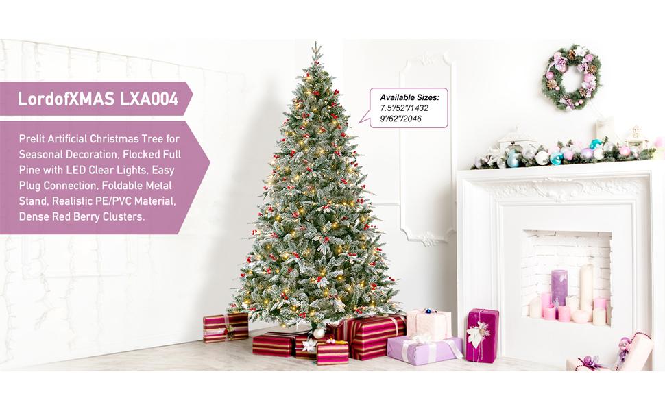LordofXMAS LXA004 Prelit Artificial Christmas Tree