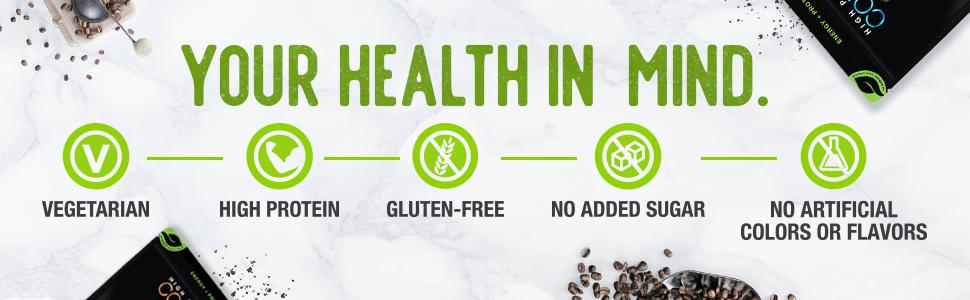 your health in mind vegetarian high protein gluten free no sugar