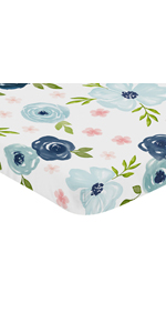Navy Blue and Pink Watercolor Floral Fitted Mini Crib Sheet Baby For Portable Crib or Pack and Play