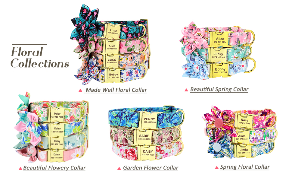 flower pattern dog collar