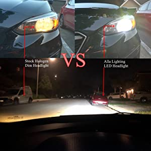 H8 H9 H11 Halogen Headlight vs H11 LED Headlights 6000K White Bulbs