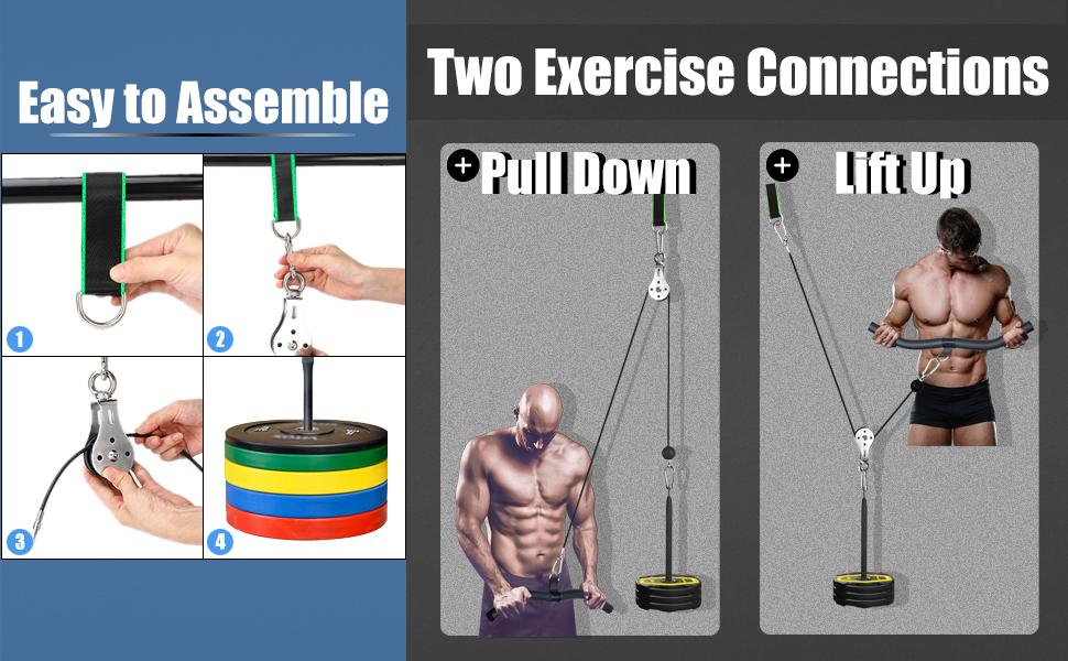 Sistema de Cable de Polea de Fitness de Alta Resistencia para Gimnasios en El Hogar Garaje, Antebrazo, Muñeca, Hombro, Ejercicios de Entrenamiento de ...