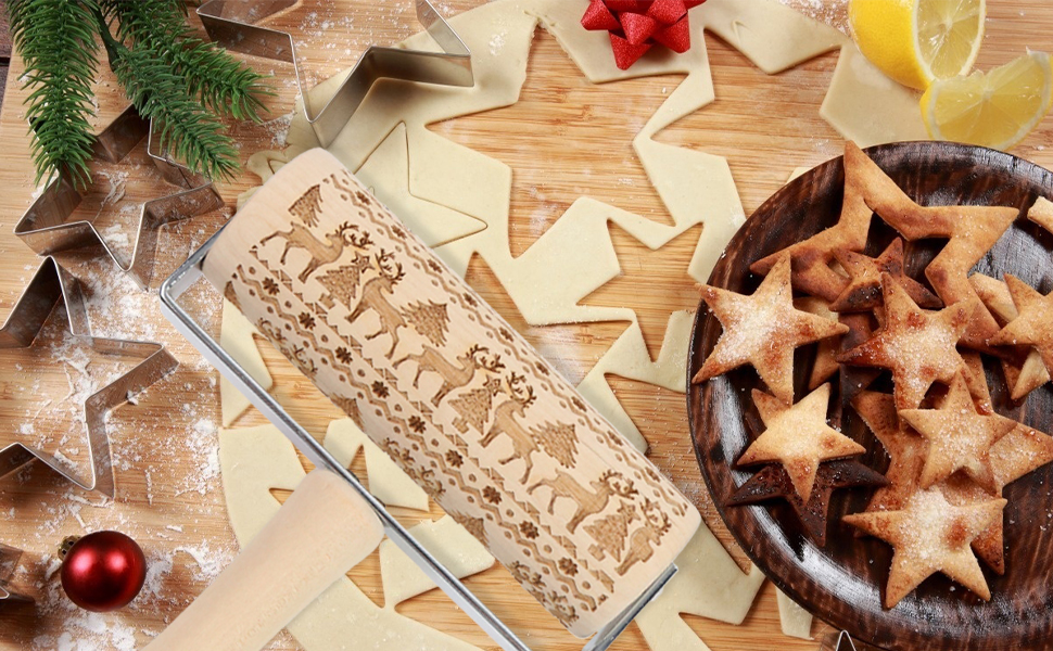Christmas pastry roller with handle