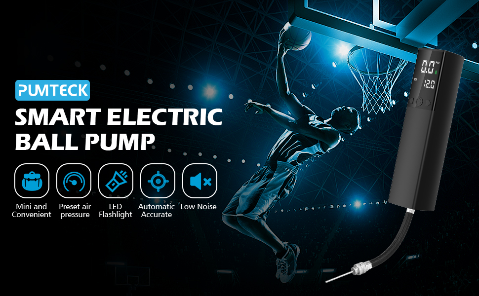 Pumteck Electric Ball Pump,Smart Air Pump Portable Fast Ball Inflation with Accu