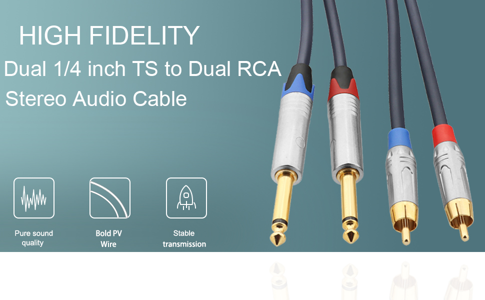 Twin 1/4 TS to RCA Cable