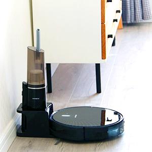 ANNEW Robot Aspirapolvere Robotics 4 modalit/à di Pulizia Ricarica Automatiche Anti collisione e Anti Caduta conaspirazione Potente per Tappeto e Capelli di Animali