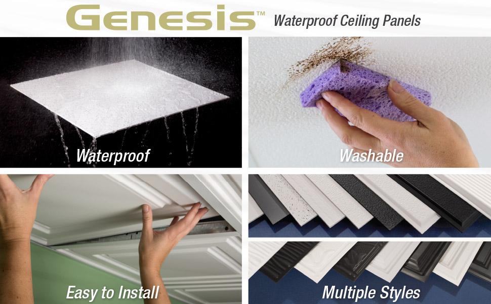 Genesis Ceiling Panels Tiles Waterproof Washable Easy to install multiple styles