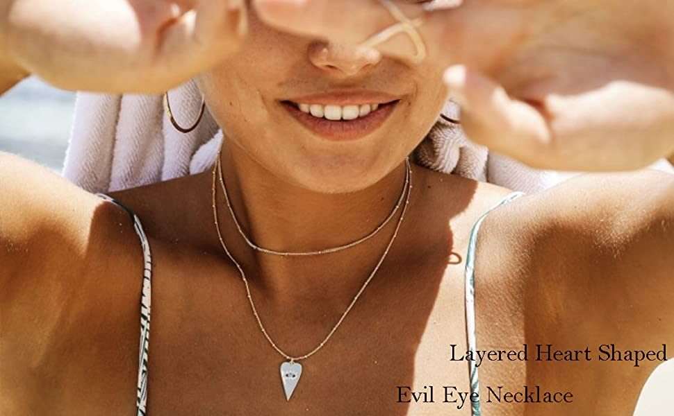 LAYERED HEART EVIL EYE NECKLACE