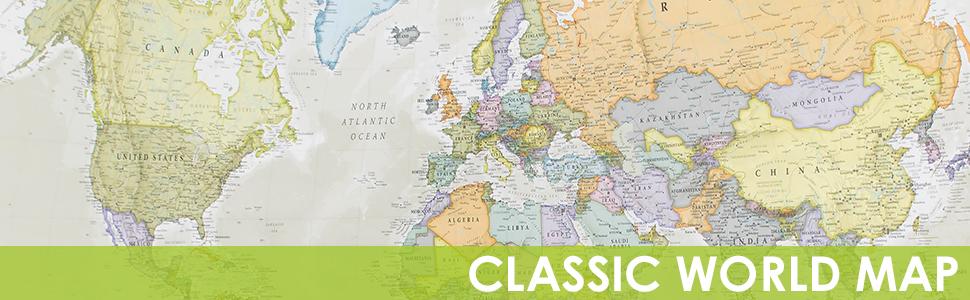 Maps International - Carte du Monde Style Poster Classic