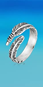 Silver Feather Open Ring