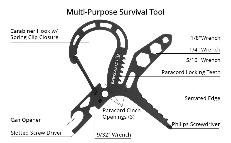 Extremus Carabiner Survival Tool