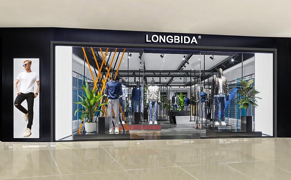 LONGBIDA Men's 5 Pocket Slim fit Straight Athletic Blue Jeans