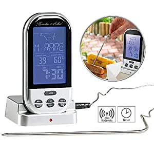 Funk-Grillthermometer 8 Garprogramme 5 Garstufen Thermometer NEU /& OVP