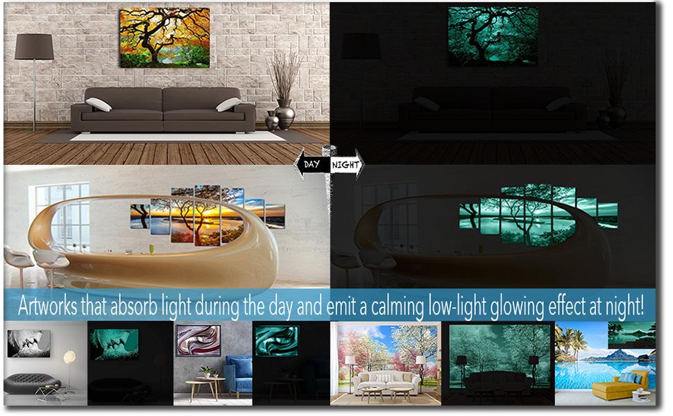Startonight feature glow in the dark canvas wall art day night eco light glass wall art artwork