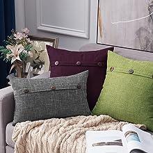 farmhouse linen burlap pillows yellow green with vintage buttons fall decor