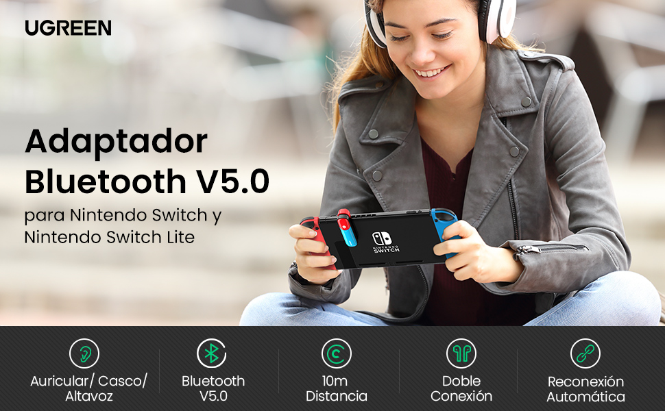 UGREEN Adaptador Bluetooth para Nintendo Switch/Switch Lite, Transmisor Bluetooth 5.0 con aptX LL Baja Latencia, Mini Bluetooth Jack 3.5mm Compatible con Airpods Auricular Altavoz Bluetooth,Plug&Play: Amazon.es: Electrónica