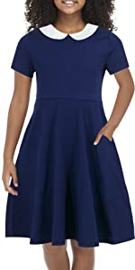 Girls Short and Long Sleeve Casual Vintage Peter Pan Collar Fit and Flare Skater Party Dress 2-12 Years