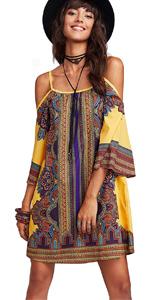 Tribal Print Kimono Sleeve Short dress