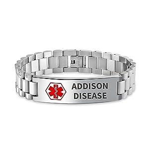 Addison Disease Identification Medical Alert ID Watch Band Link Bracelet Stainless Steel Engraved