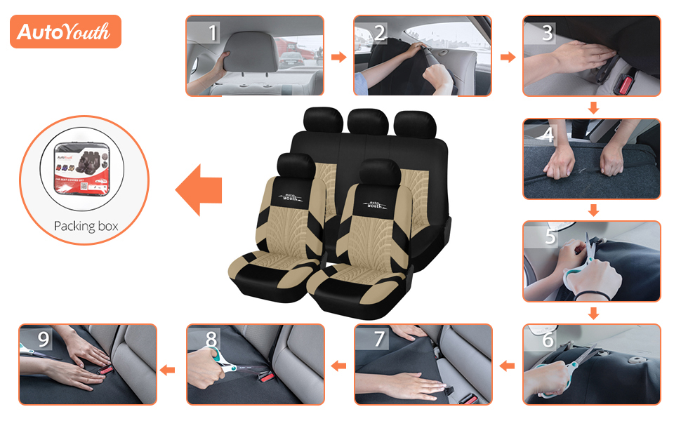 9PCS Beige AUTOYOUTH Car Seat Covers Universal Fit Full Set Car Seat Protectors Tire Tracks Car Seat Accessories