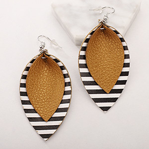 Leather Earrings Lightweight Faux Leather Leaf Earrings Teardrop Dangle Handmade for Women Girls
