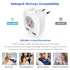 travel plug adapter europe