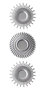 Pack of 3 silver plastic mirrors with eyebolt to hang on the wall