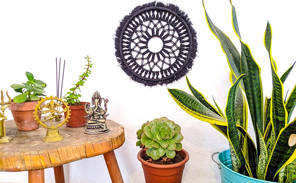 Mandala Life ART DIY Black Round Macrame Kit 12 Make Your Own Bohemian Wall Hanging with All-Natural Materials-Creative Activity Set Includes Premium Cotton Yarn Cord Rope and Wooden Ring Hoop