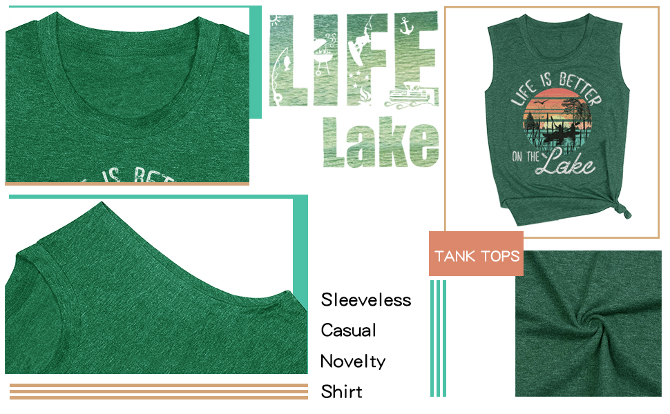 Life is Better on the Lake Sleeveless Tank Tops Graphic Casual Tees