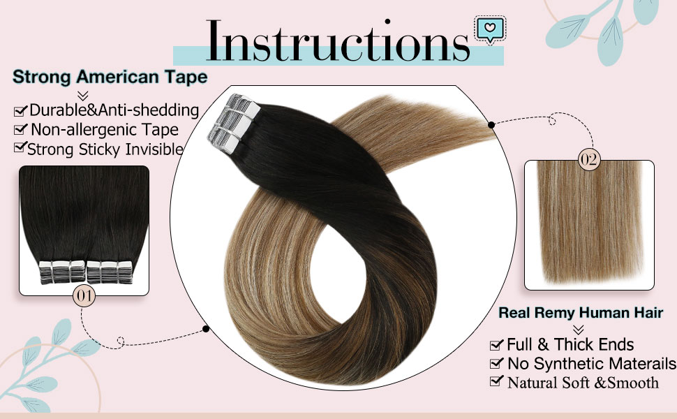 Moresoo Tape in Hair Extensions Brown