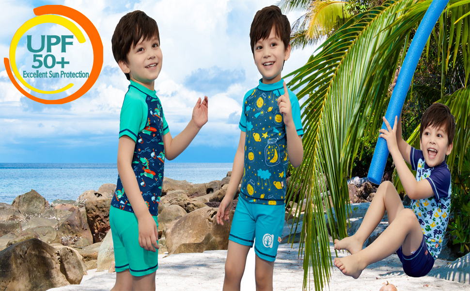 Sun Protection Dinosaur Swimwear Yellow 10 Kids Baby Boys Two Piece Bathing Suits Short Sleeve Rash Guard Sets UPF50