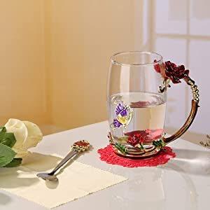 Flower Glass Tea Mug