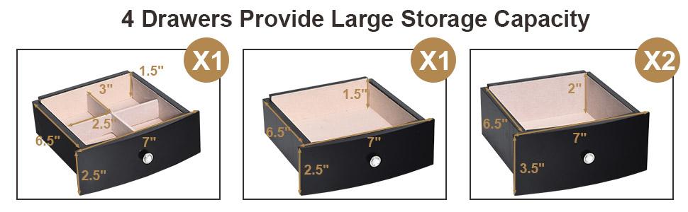 Wood Large Ring Necklace Storage Box Top Flip Makeup Mirror