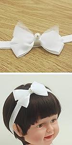 pure white bow headband baptism Christening hair band