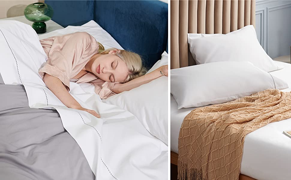 user image of the Bedsure 1000 Thread Count Bed Sheets, 100% Pure Long-Staple Cotton Sheets, 4-Pc Queen Size Sheet Set