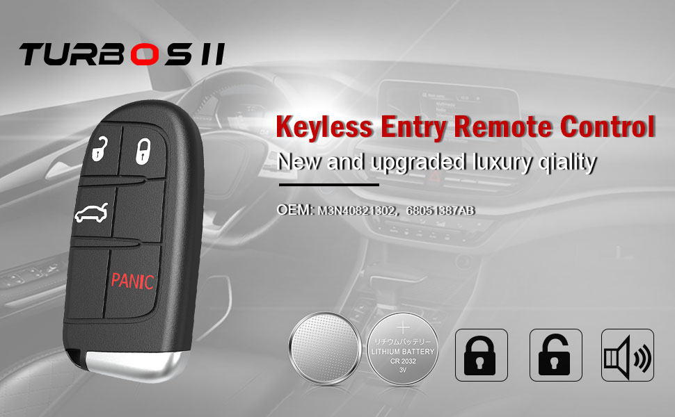 //2018 Jeep Trackhawk//2015-2017 Fiat 500L//2015-2017 Jeep Renegade M3N-40821302 TURBOSII Keyless Entry Remote Car Smart Key Fob Starter for 2017-2018 Jeep Compass new body style only